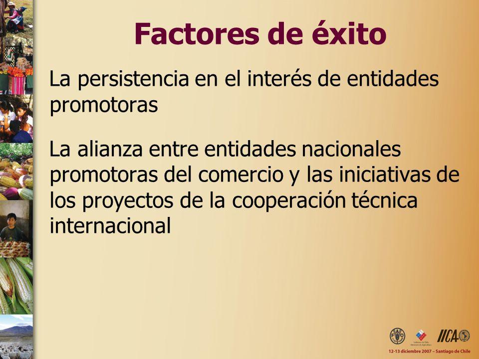 Factores de éxitoLa persistencia en el interés de entidades promotoras.