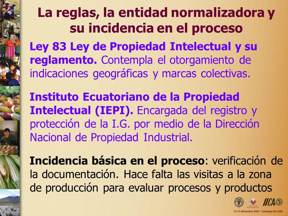 La reglas, la entidad normalizadora y su incidencia en el proceso