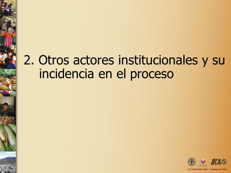2. Otros actores institucionales y su incidencia en el proceso