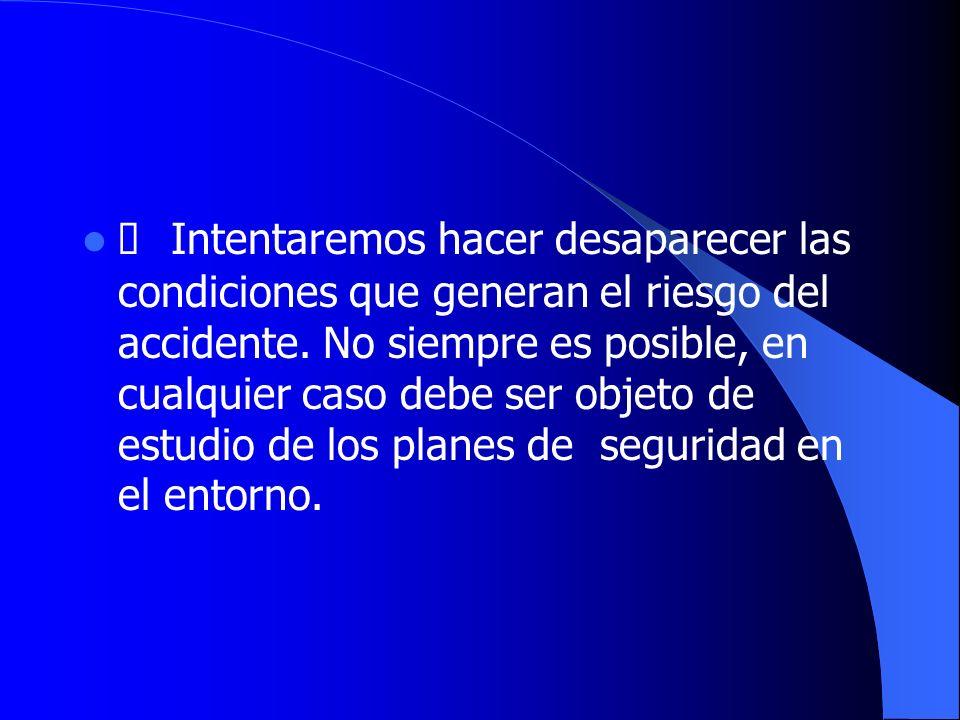 Ø Intentaremos hacer desaparecer las condiciones que generan el riesgo del accidente.