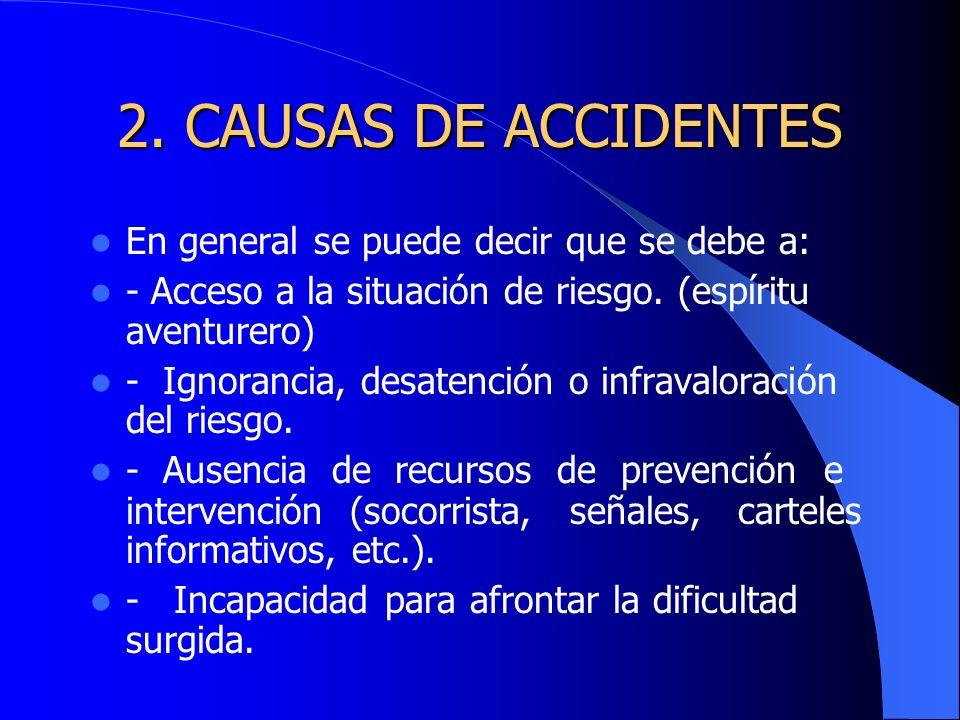 2. CAUSAS DE ACCIDENTES En general se puede decir que se debe a: