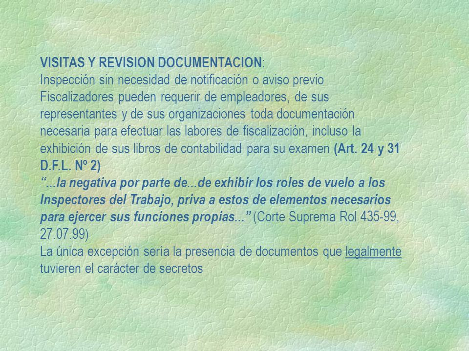 VISITAS Y REVISION DOCUMENTACION: