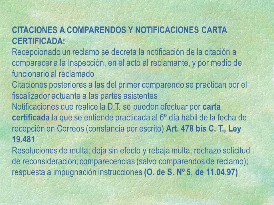 CITACIONES A COMPARENDOS Y NOTIFICACIONES CARTA CERTIFICADA: