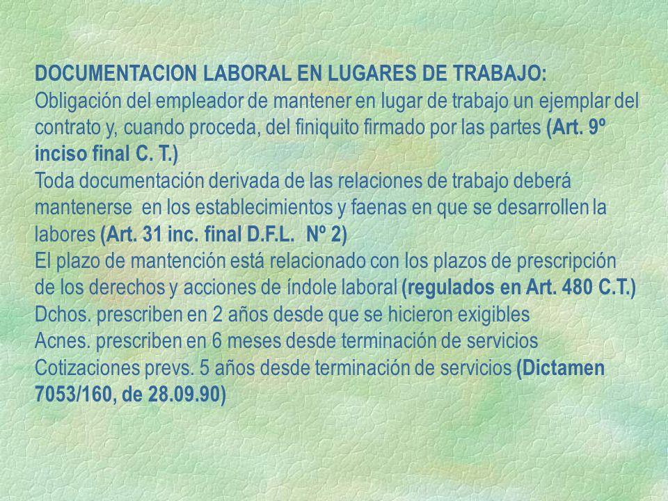DOCUMENTACION LABORAL EN LUGARES DE TRABAJO: