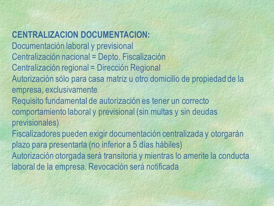 CENTRALIZACION DOCUMENTACION:
