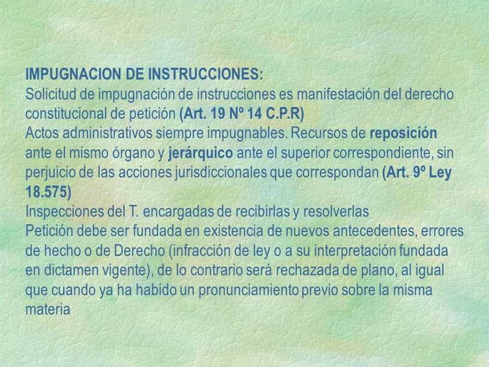 IMPUGNACION DE INSTRUCCIONES: