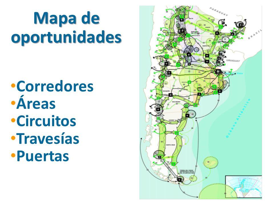 Mapa de oportunidades Corredores Áreas Circuitos Travesías Puertas