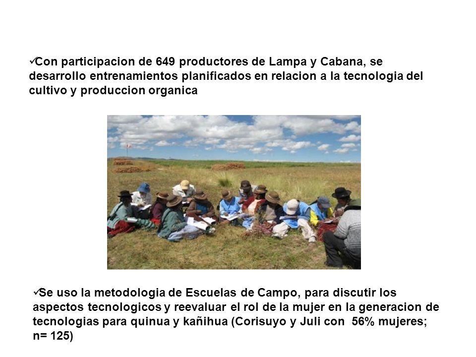 Con participacion de 649 productores de Lampa y Cabana, se desarrollo entrenamientos planificados en relacion a la tecnologia del cultivo y produccion organica
