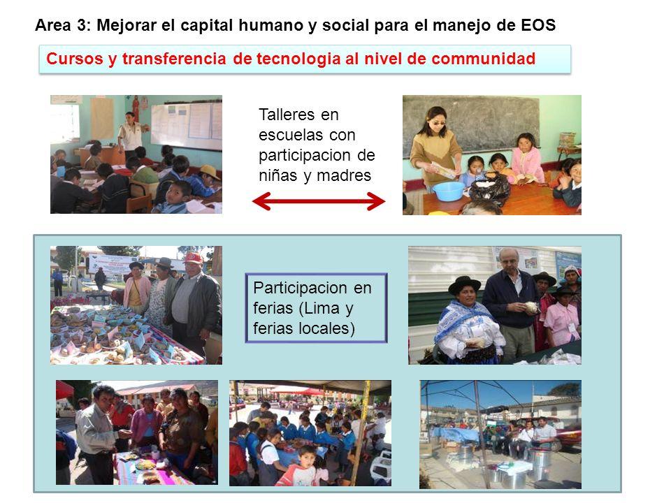 Area 3: Mejorar el capital humano y social para el manejo de EOS