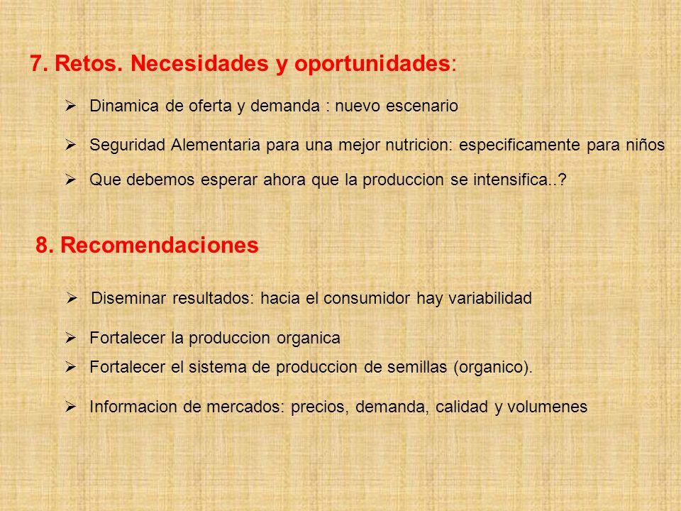 7. Retos. Necesidades y oportunidades: