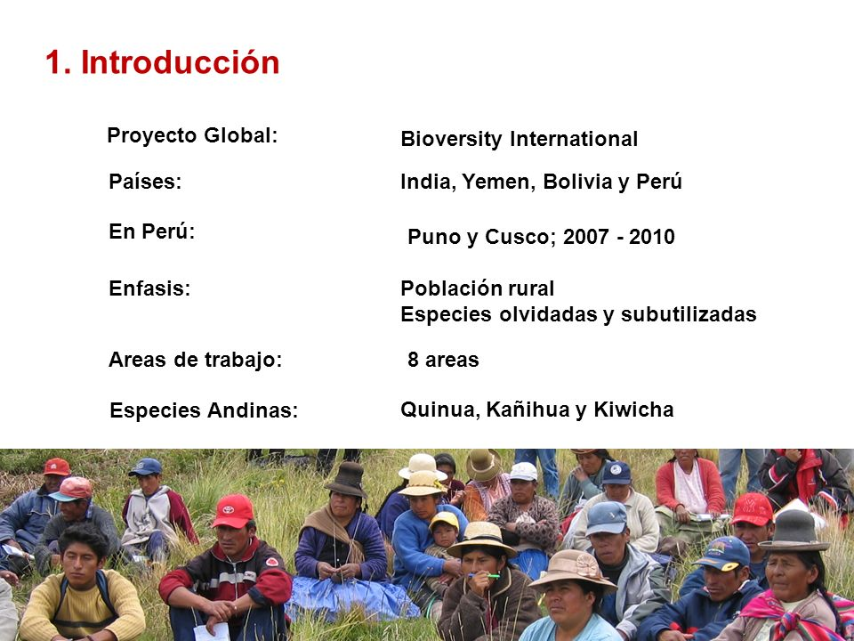 1. Introducción Proyecto Global: Bioversity International Países: