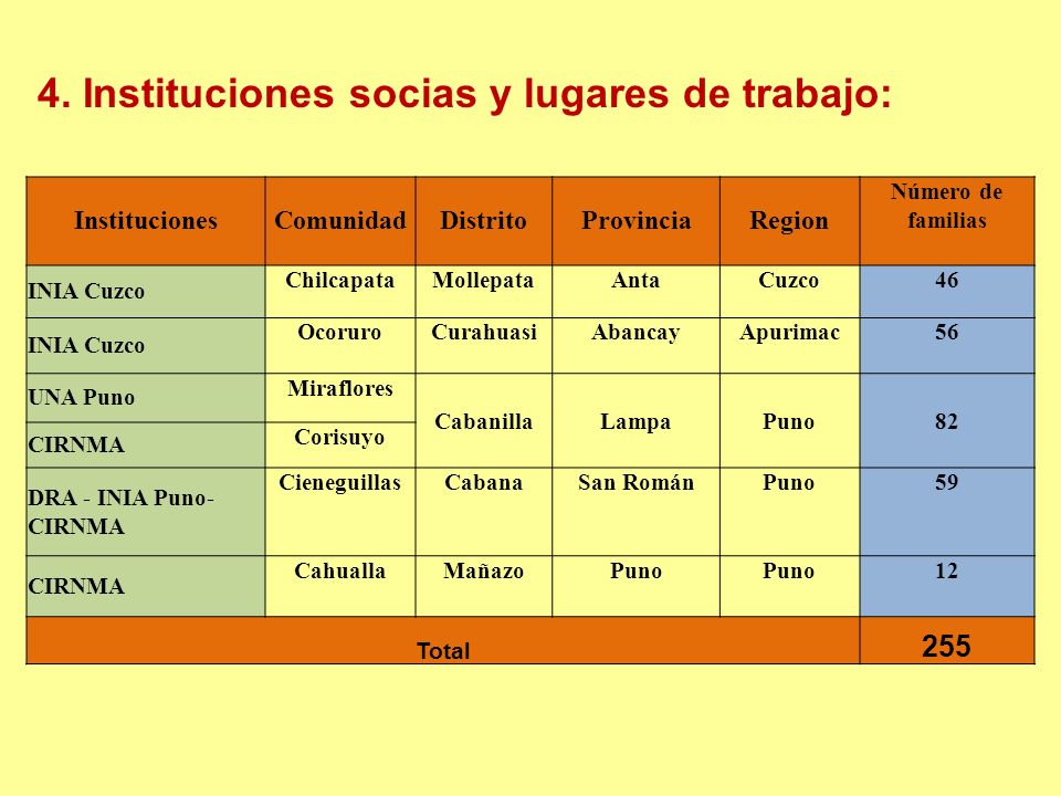 4. Instituciones socias y lugares de trabajo: