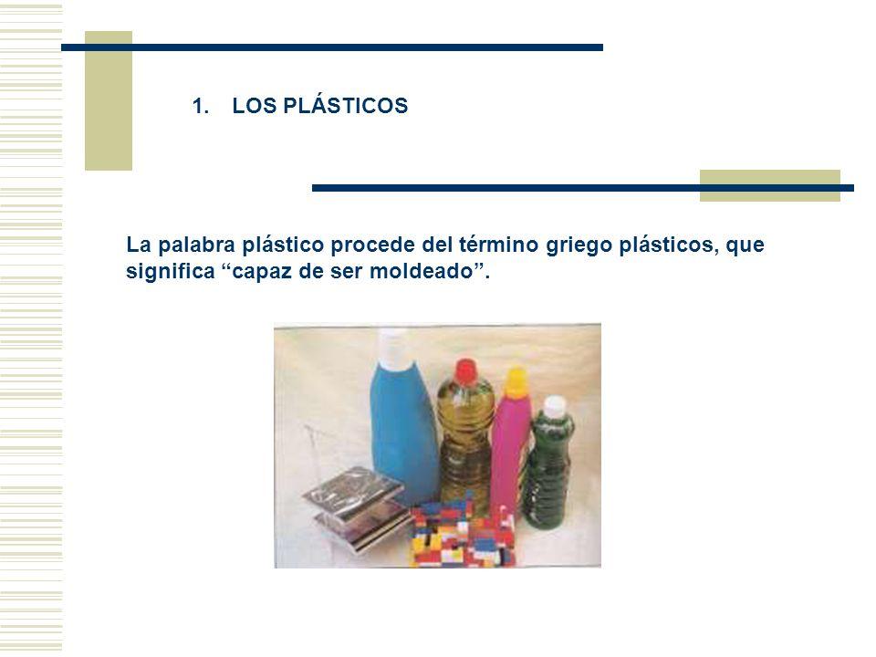 1. LOS PLÁSTICOS La palabra plástico procede del término griego plásticos, que significa capaz de ser moldeado .