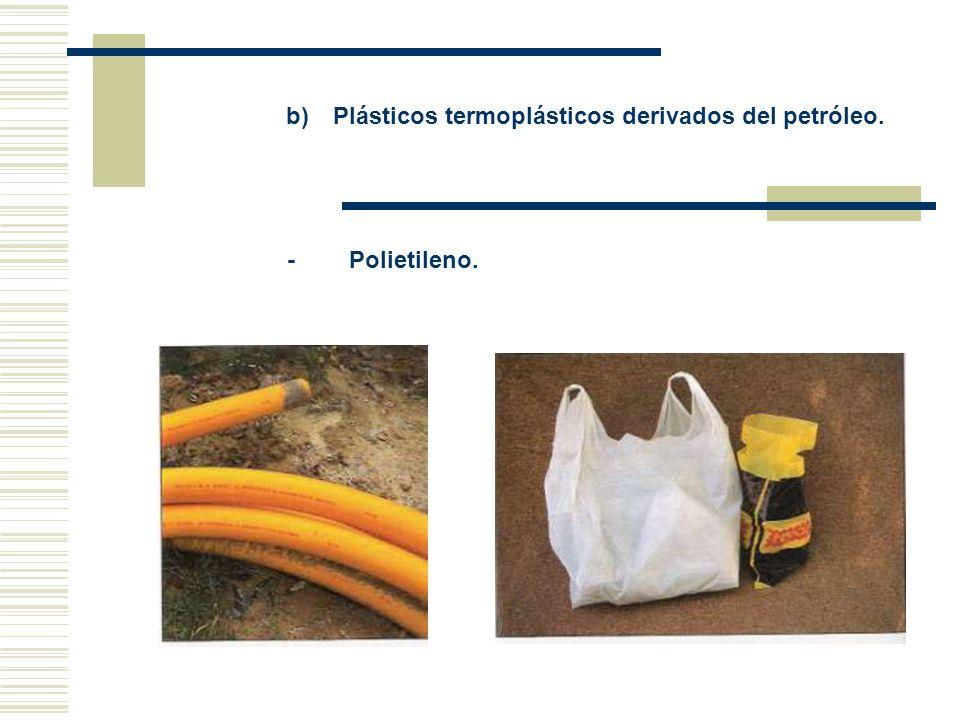 b) Plásticos termoplásticos derivados del petróleo.