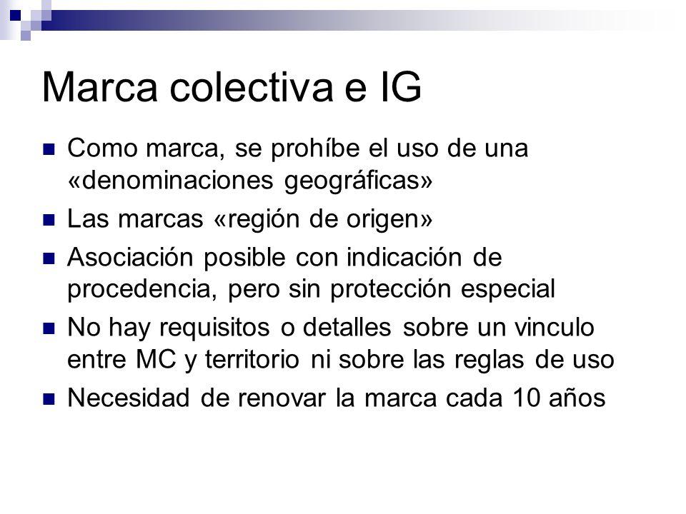 Marca colectiva e IG Como marca, se prohíbe el uso de una «denominaciones geográficas» Las marcas «región de origen»