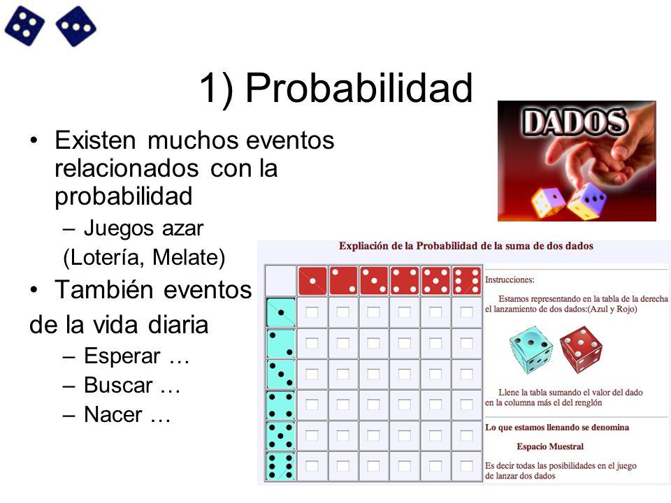 1) Probabilidad Existen muchos eventos relacionados con la probabilidad. Juegos azar. (Lotería, Melate)