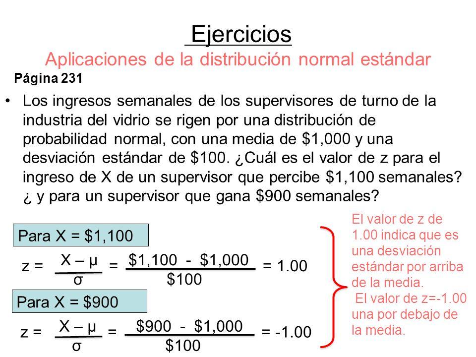 Ejercicios Aplicaciones de la distribución normal estándar