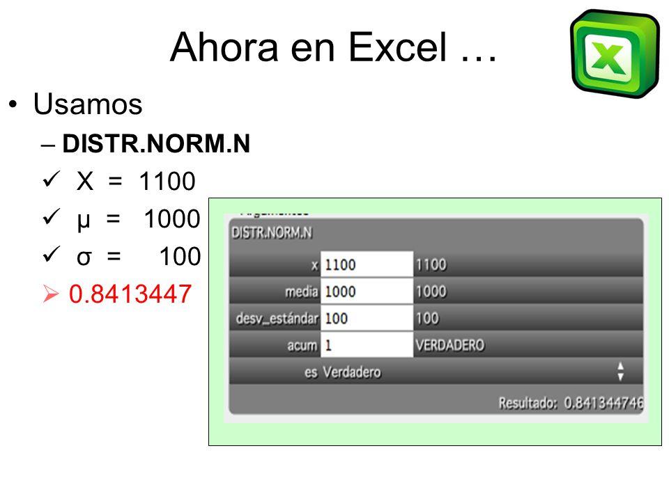 Ahora en Excel … Usamos DISTR.NORM.N X = 1100 μ = 1000 σ = 100