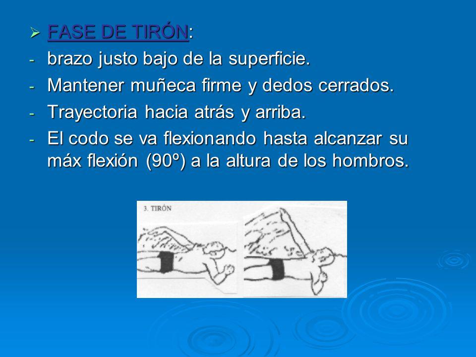 FASE DE TIRÓN: brazo justo bajo de la superficie. Mantener muñeca firme y dedos cerrados. Trayectoria hacia atrás y arriba.