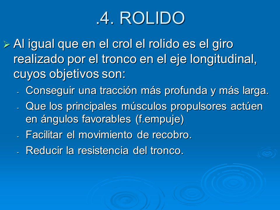 .4. ROLIDO Al igual que en el crol el rolido es el giro realizado por el tronco en el eje longitudinal, cuyos objetivos son: