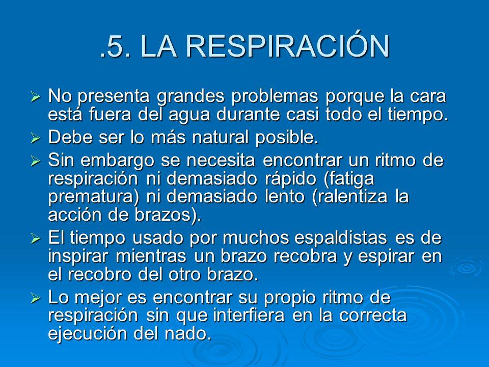 .5. LA RESPIRACIÓN No presenta grandes problemas porque la cara está fuera del agua durante casi todo el tiempo.
