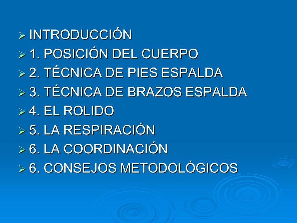 INTRODUCCIÓN 1. POSICIÓN DEL CUERPO. 2. TÉCNICA DE PIES ESPALDA. 3. TÉCNICA DE BRAZOS ESPALDA. 4. EL ROLIDO.