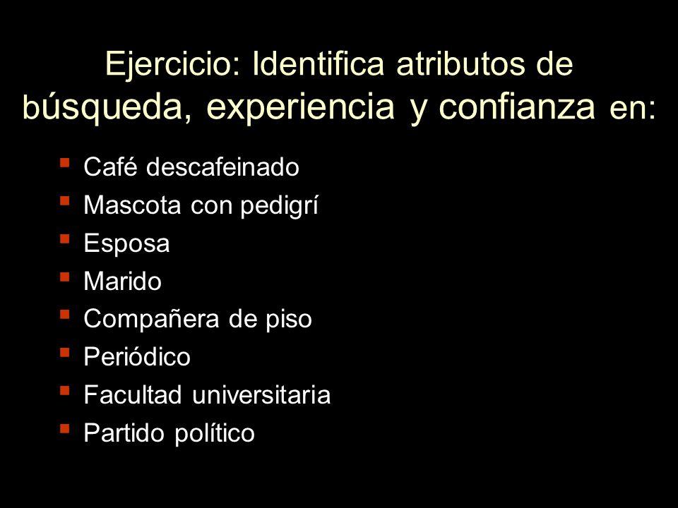 Ejercicio: Identifica atributos de búsqueda, experiencia y confianza en: