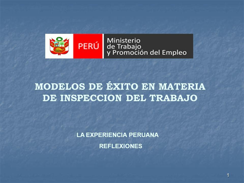MODELOS DE ÉXITO EN MATERIA DE INSPECCION DEL TRABAJO