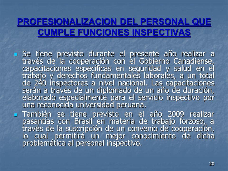 PROFESIONALIZACION DEL PERSONAL QUE CUMPLE FUNCIONES INSPECTIVAS
