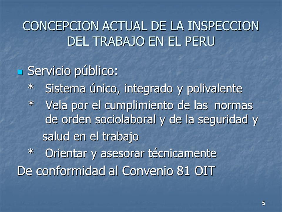 CONCEPCION ACTUAL DE LA INSPECCION DEL TRABAJO EN EL PERU