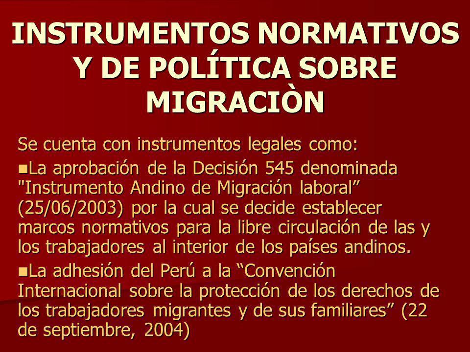 INSTRUMENTOS NORMATIVOS Y DE POLÍTICA SOBRE MIGRACIÒN