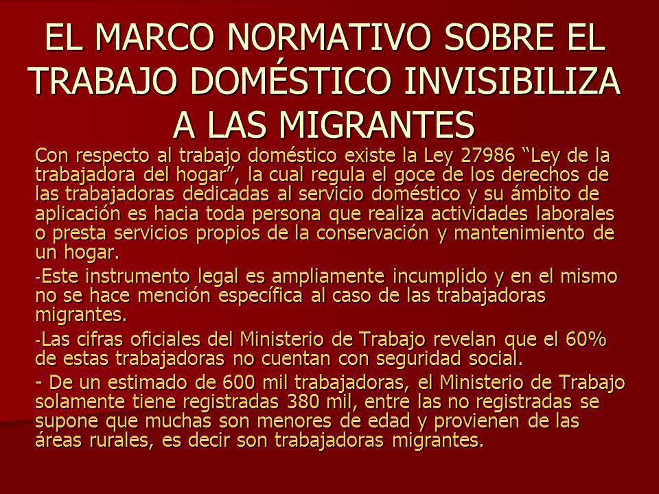 EL MARCO NORMATIVO SOBRE EL TRABAJO DOMÉSTICO INVISIBILIZA A LAS MIGRANTES