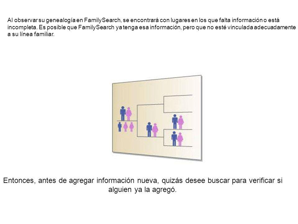 Al observar su genealogía en FamilySearch, se encontrará con lugares en los que falta información o está
