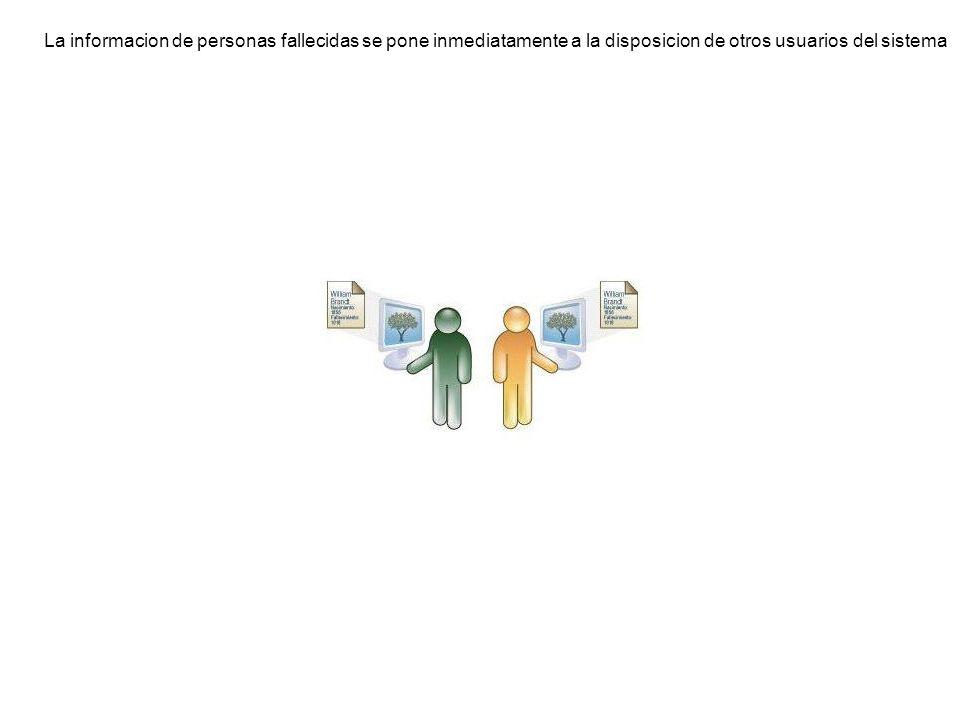 La informacion de personas fallecidas se pone inmediatamente a la disposicion de otros usuarios del sistema