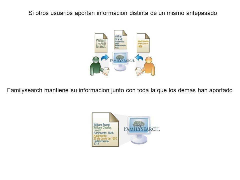 Si otros usuarios aportan informacion distinta de un mismo antepasado