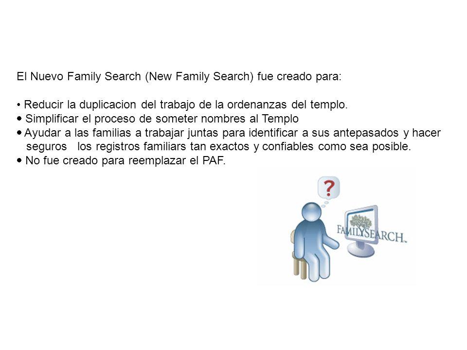 El Nuevo Family Search (New Family Search) fue creado para:
