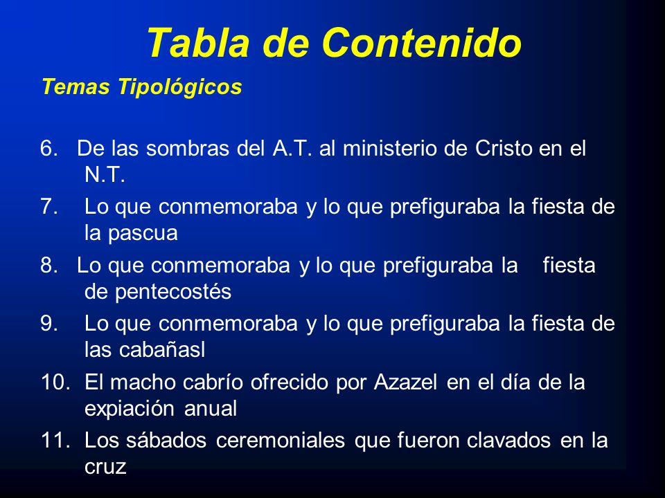Tabla de Contenido Temas Tipológicos