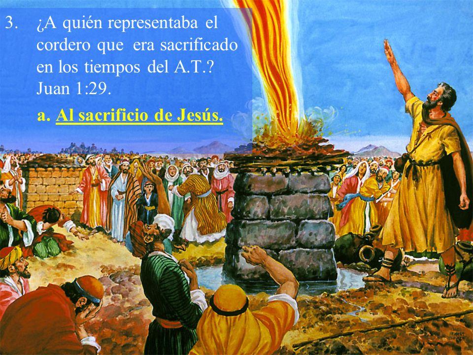 ¿A quién representaba el cordero que era sacrificado en los tiempos del A.T. Juan 1:29.
