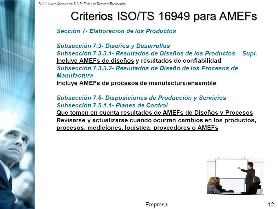 Criterios ISO/TS 16949 para AMEFs