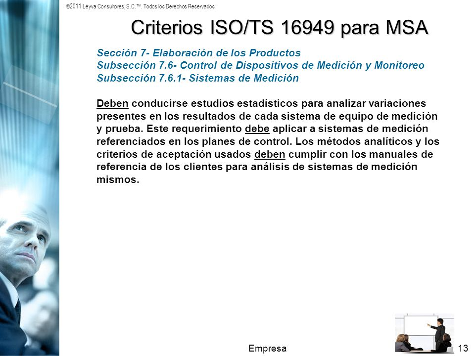Criterios ISO/TS 16949 para MSA