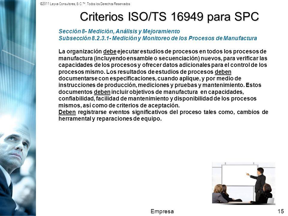 Criterios ISO/TS 16949 para SPC
