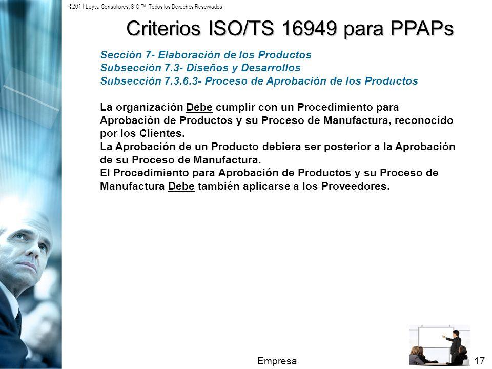 Criterios ISO/TS 16949 para PPAPs