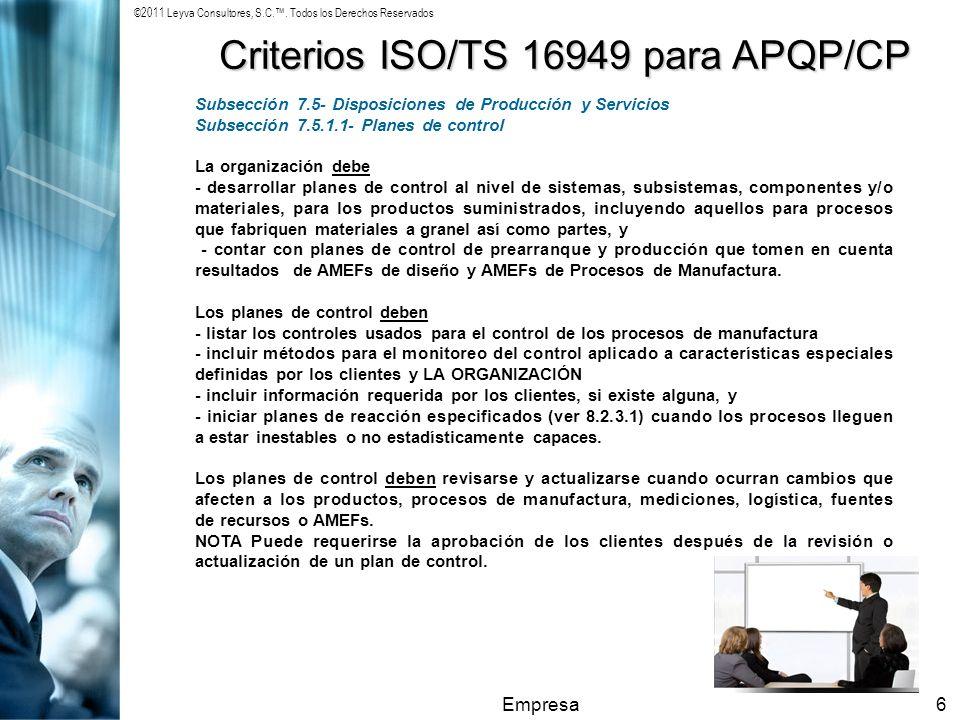 Criterios ISO/TS 16949 para APQP/CP