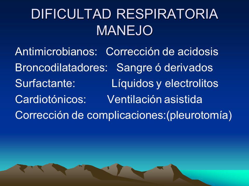 DIFICULTAD RESPIRATORIA MANEJO