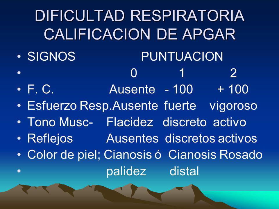 DIFICULTAD RESPIRATORIA CALIFICACION DE APGAR