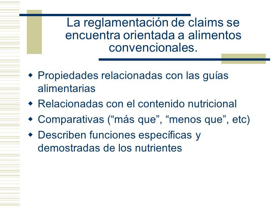 La reglamentación de claims se encuentra orientada a alimentos convencionales.