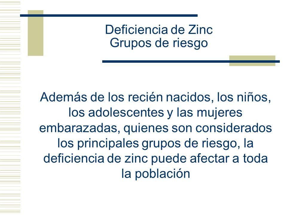 Deficiencia de Zinc Grupos de riesgo
