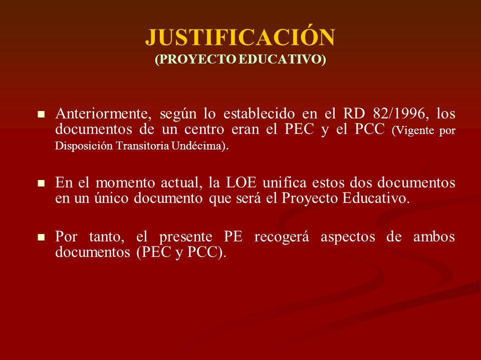 JUSTIFICACIÓN (PROYECTO EDUCATIVO)