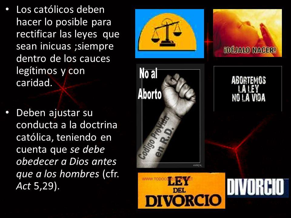 Los católicos deben hacer lo posible para rectificar las leyes que sean inicuas ;siempre dentro de los cauces legítimos y con caridad.