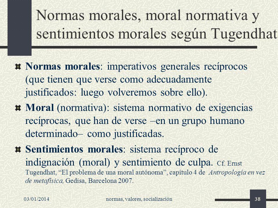 Normas morales, moral normativa y sentimientos morales según Tugendhat
